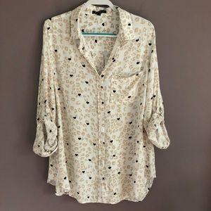 Velvet Heart Tab Sleeve Leopard Button Down Shirt